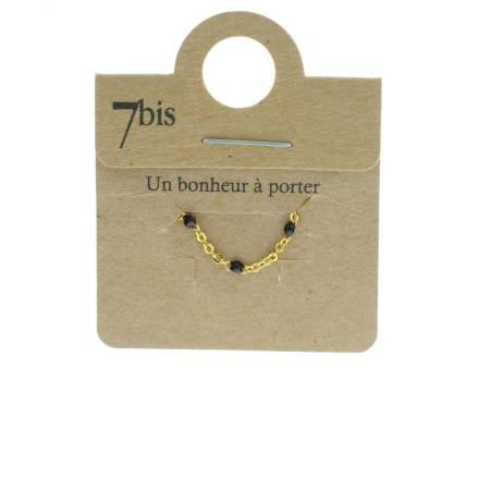 871478NOI Bague Perles Doré Noir Ajustable Laiton Doré