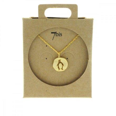 137319DOR Collier Pingouin Doré Medaillon Médaille