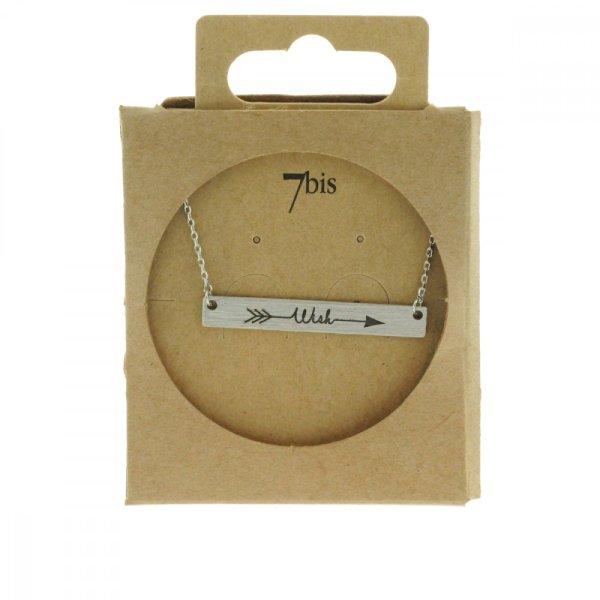170552ARG Collier Wish Argenté Plaque Gravé Message