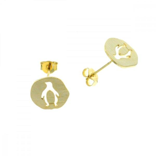 237319DOR Boucles D'oreilles Pingouin Doré Medaillon Médaille