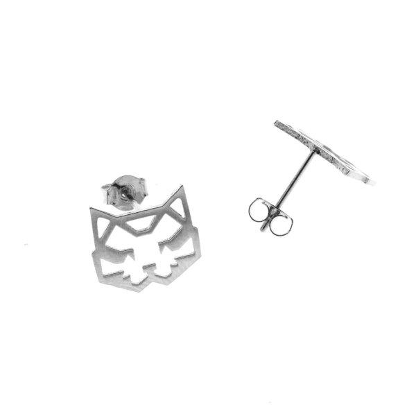 237549ARG Boucles D'oreilles Chat Argenté Tete Géométrique
