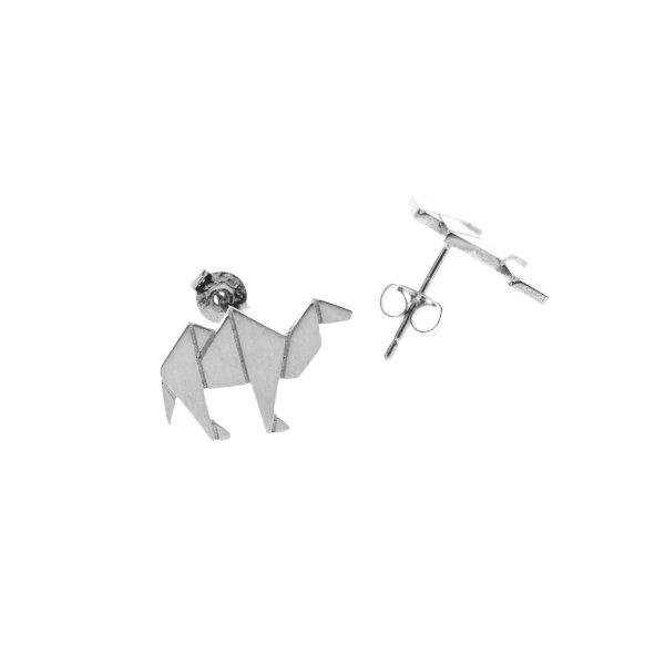 237837ARG Boucles D'oreilles Chameau Argenté Plein Origami