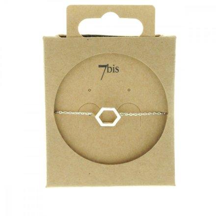 337322ARG Bracelet Hexagone Argenté Reperçé Géométrique