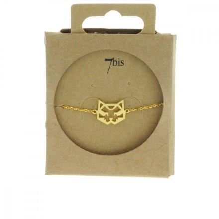 337549DOR Bracelet Chat Doré Tete Géométrique