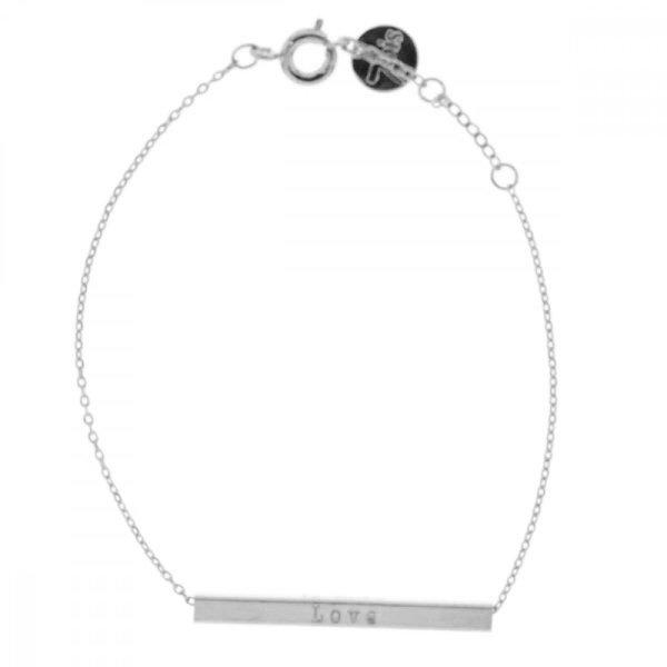 337698ARG Bracelet Love Barre Gravée Argenté Réversible If Only