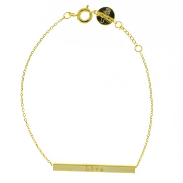 337698DOR Bracelet Love Barre Gravée Doré Réversible If Only