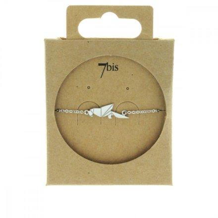 337832ARG Bracelet Perroquet Argenté Plein Origami Laiton