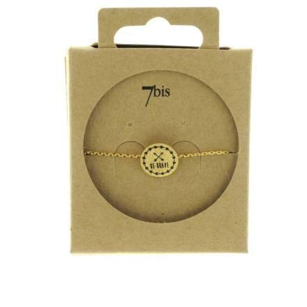 370556DOR Bracelet Be-brave Doré Message Imprimé