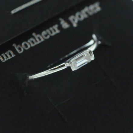 871501ARG13 Bague Anneau Rectangle Argent 925 Taille Unique Zircon
