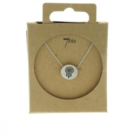 170551ARG Collier Dreamcatcher Argenté Médaille Imprimé
