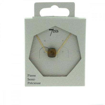 170570MAR Collier Oeil Du Tigre Doré Marron Carré Précieux Chaine Fine