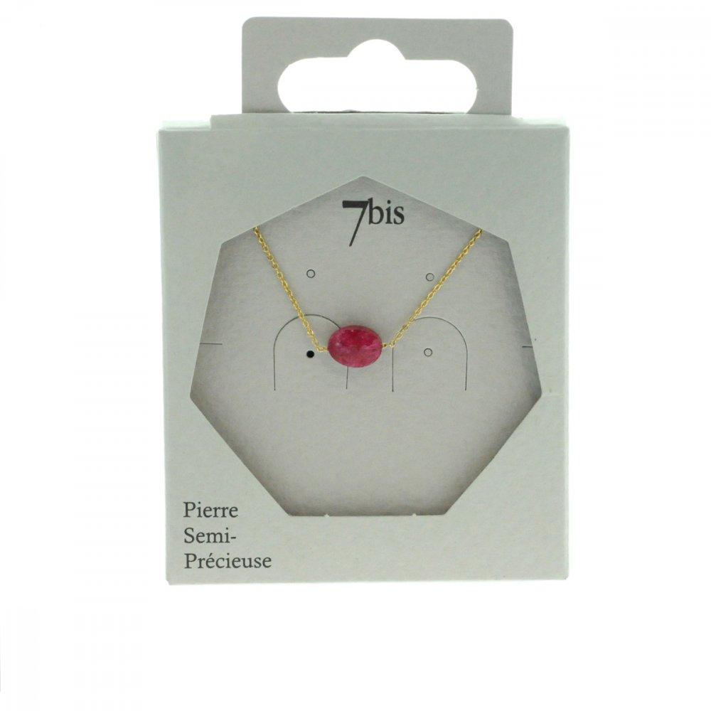 170793FUS Collier Rhodonite Doré Fushia Ovale Précieux Chaine Fine