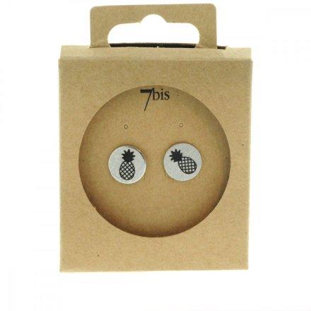 270549ARG Boucles D'oreilles Ananas Argenté Médaille Imprimé