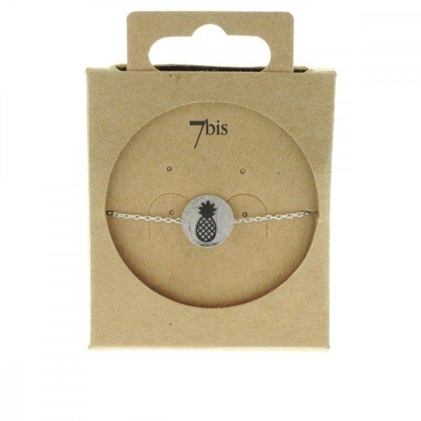 370549ARG Bracelet Ananas Argenté Médaille Imprimé