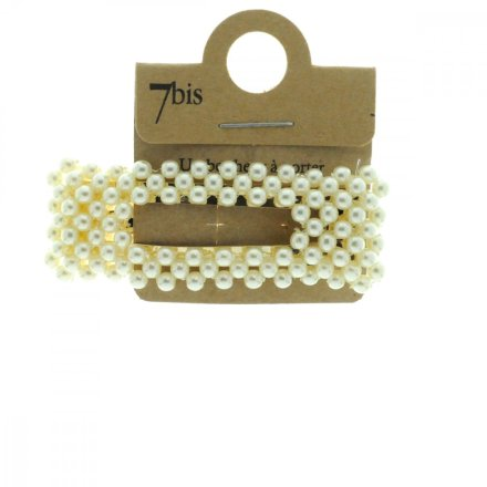 670613DOR Barrette Perles Or Crème Rectangle Clip