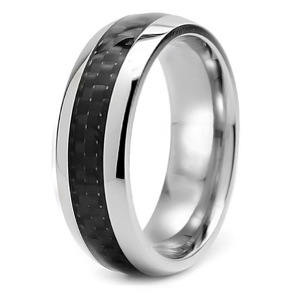 Domed Stainless Steel Carbon FIber Inlay Band Wedding Ring