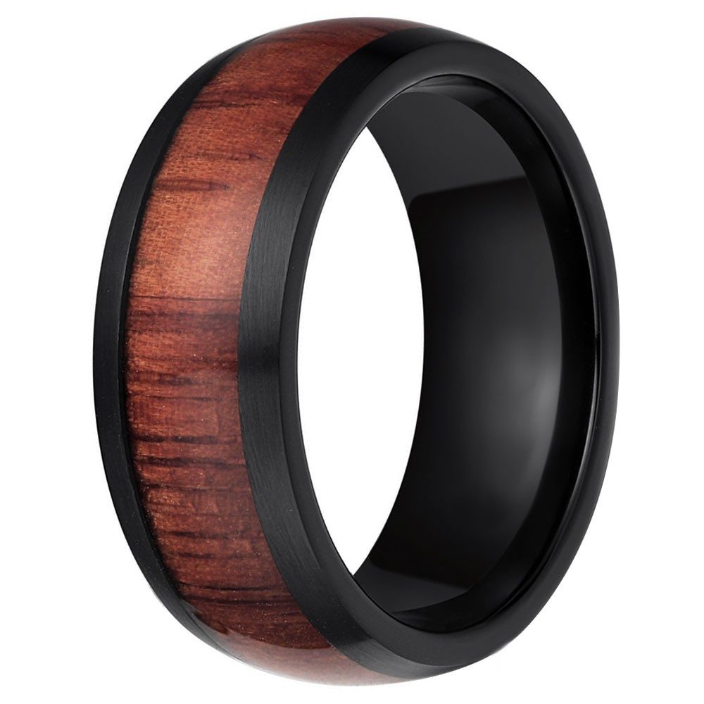 Mens Personalised Black Tungsten Dome Ring Red Wood Inlay