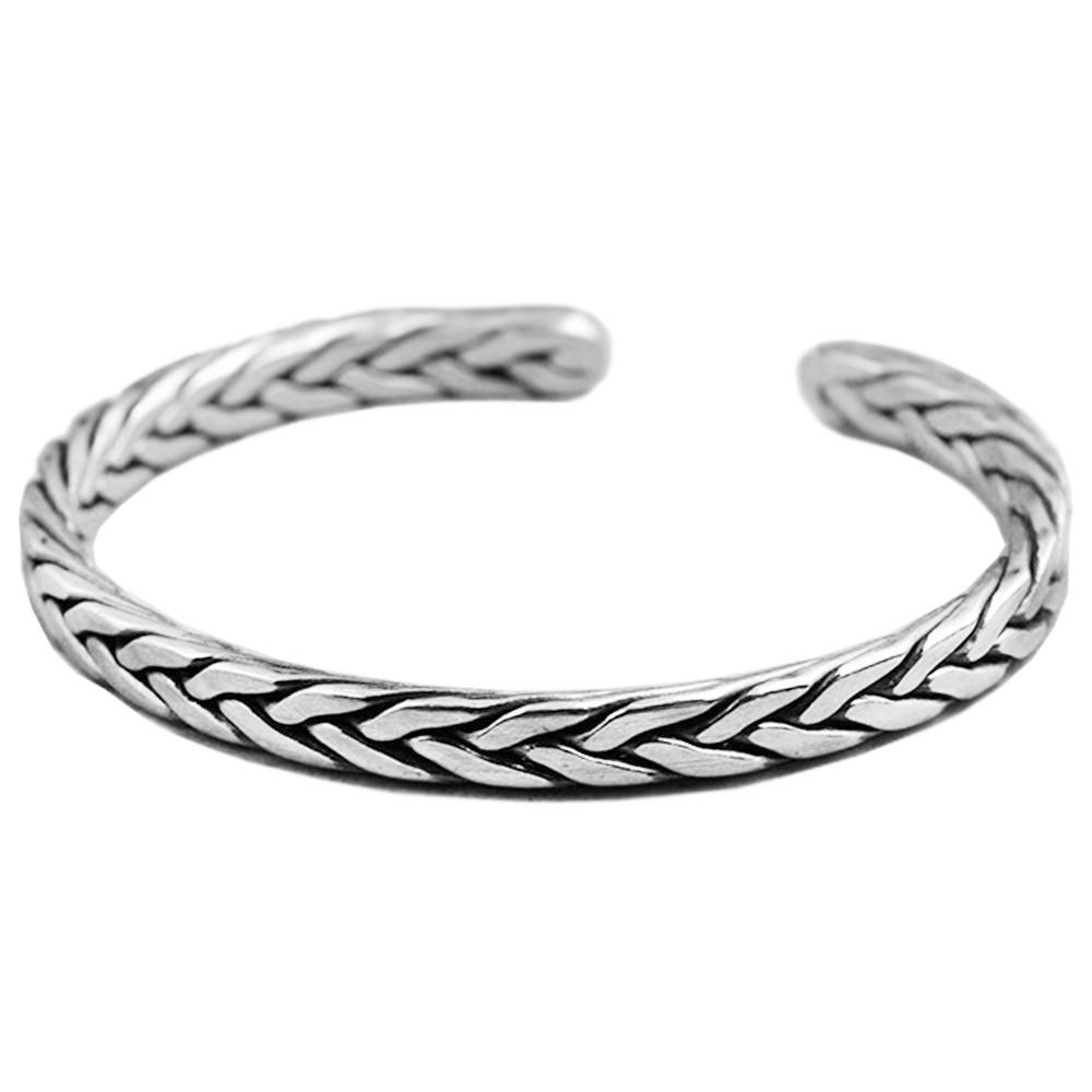 bracelet argent massif jonc tresse