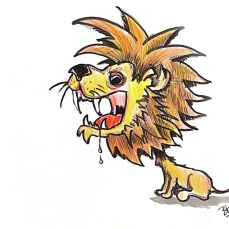This lion is really hungry