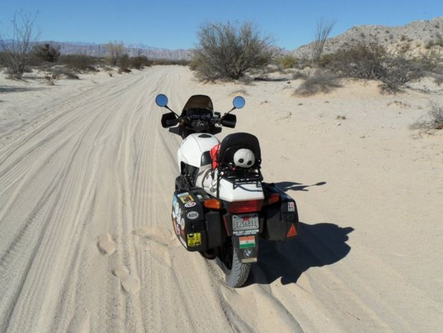 That bike took me to Mexico several times, and often got me in trouble often. Here's one of many examples - getting stuck in sand that I had no business riding in. (Definitely the bike's fault, nothing to do with my lack of judgment or skill)