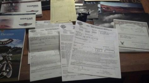 Harley-Davidson Road King Sidecar - Paperwork