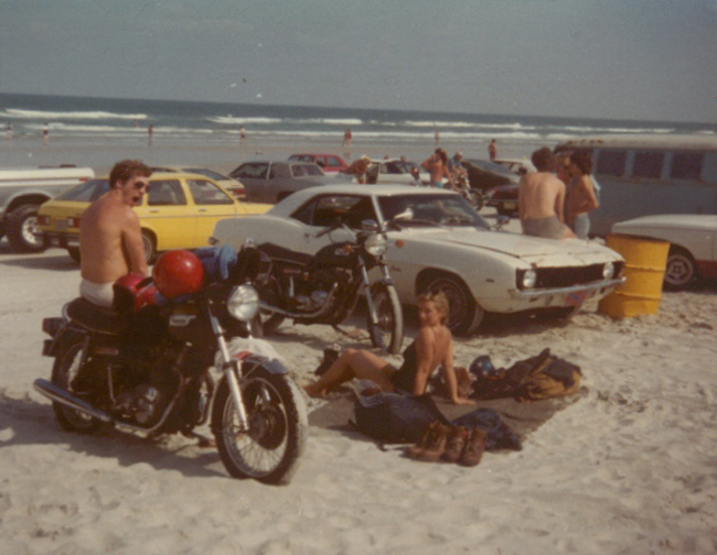 Ted Clough - Daytona Beach with Triumph Trident