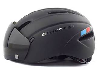 Base Camp Cycling Bike Helmet with Removable Shield Visor - Adjustable M L Size 22-24 Inches