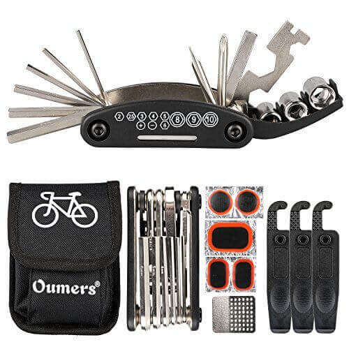 Oumers Multi-Function Bike Bicycle Cycling Mechanic Repair Kit with 3pc Tire Lever 5pc Tyre PatchesTire Rasp Work Bag
