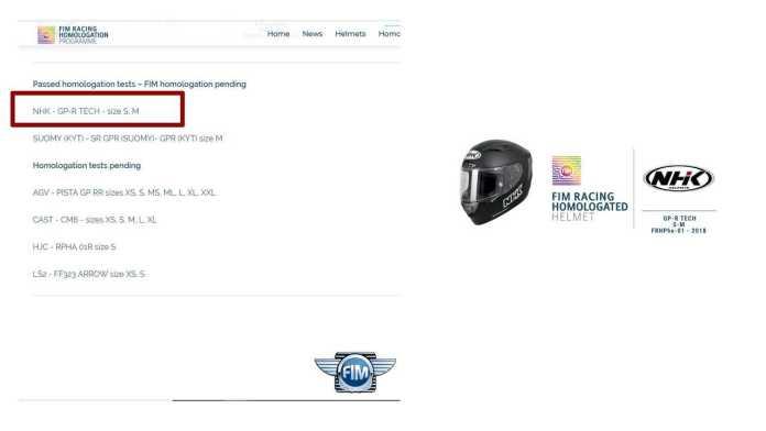 FIM helmet homologation confusion