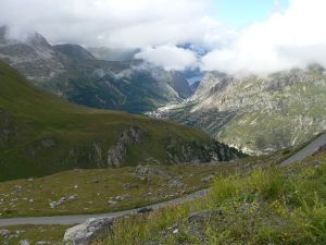 Climbing Col d´Iseran, view of Val d´Isère, french Alpes