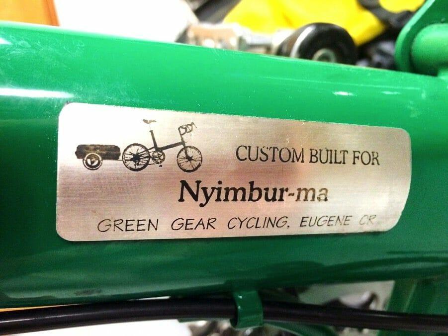 Custom name plate for a Bike Friday folding bike