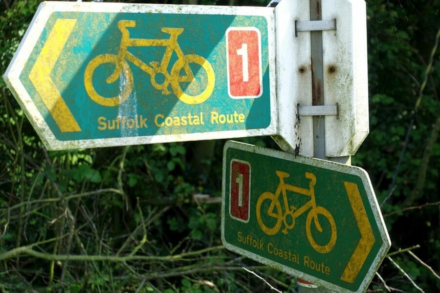 cycle routes in the UK clearly marked by sign