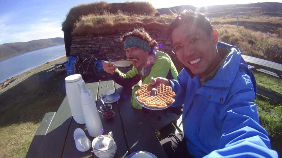 Campsite breakfast while bike touring in Iceland