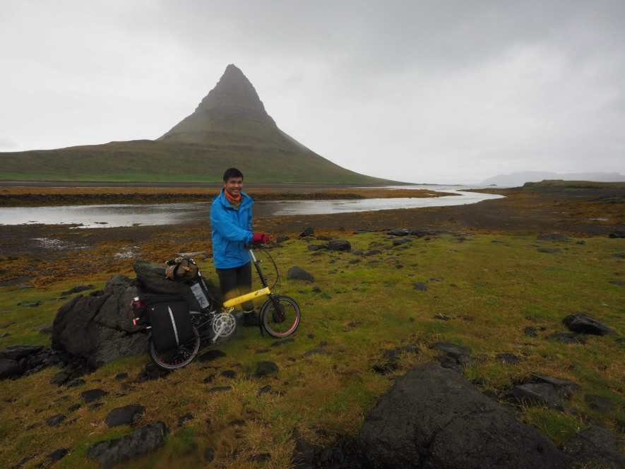 Cycling through misty Icelandic countryside