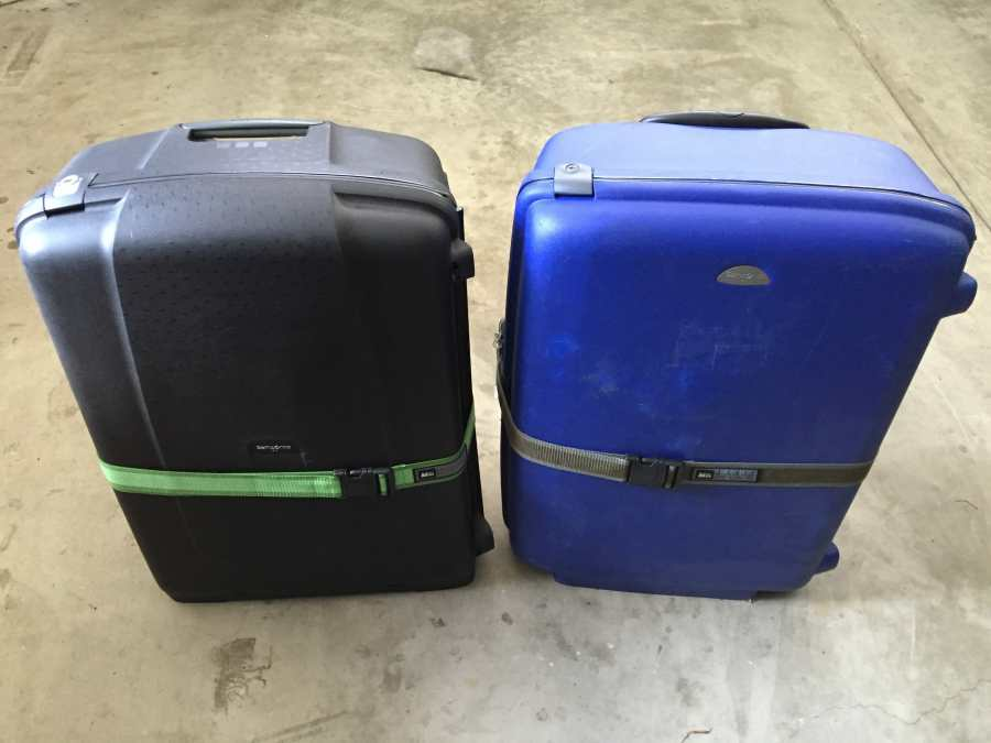 Two folding bikes packed easily into two suitcases