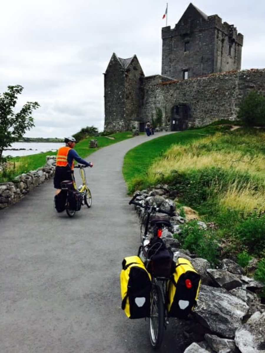 Biking to a castle in Ireland with fully loaded touring bikes
