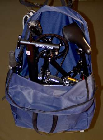 Here with have a Bike Friday pakiT in it's new backpack