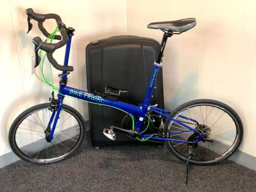 Here is a Bike Friday Pocket Rocket with a Samsonite luggage bag for travel