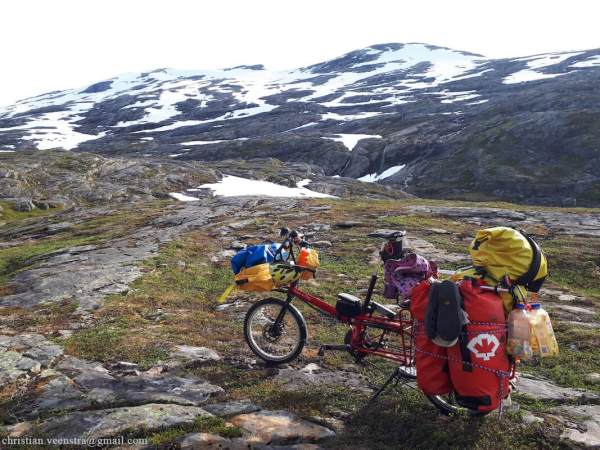 Here we have a Bike Friday Haul-a-Day out in the mountains of Norway.