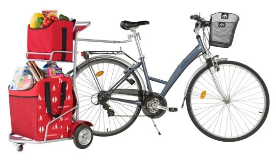 Koursavelo, il rimorchio per bicicletta per fare la spesa (porta fino a 30 kg)