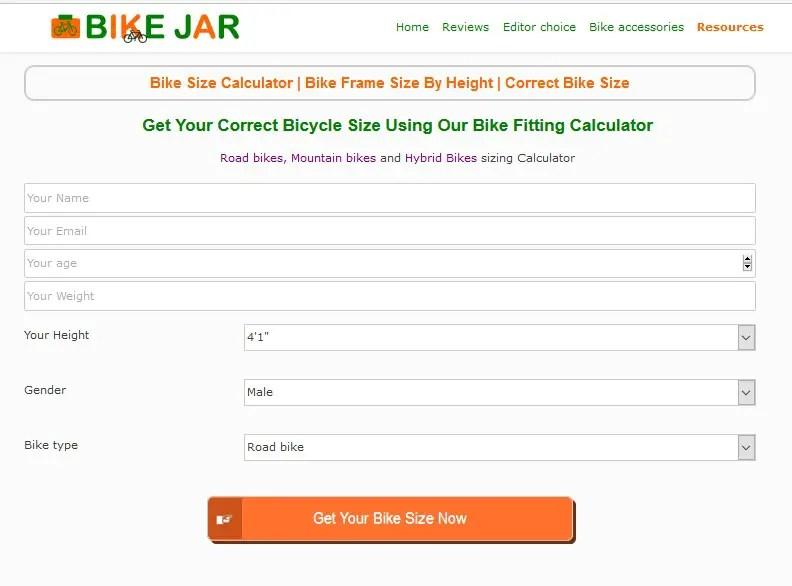 Bike Sizing Calculator - Bike Frame Size By Height