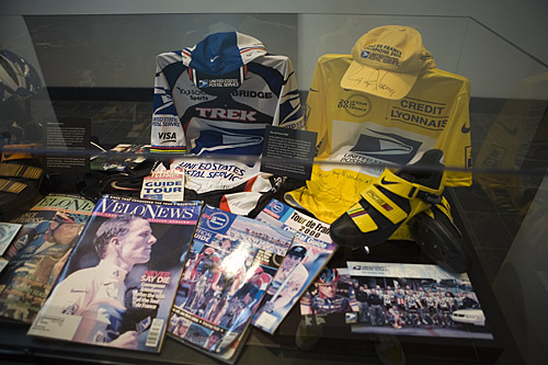A small portion of the Lance memorabilia on display at Nike