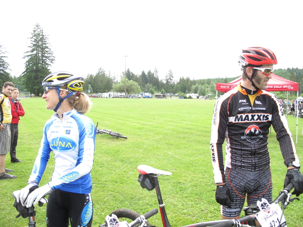 Geoff Kabush and Catharine Pendrel took top spot for day one in the mixed 2-person category.