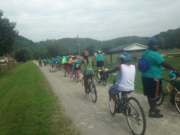 Positive Spinners complete a 50 mile culminating ride from Perryopolis all the way back to their school on the Northside.