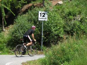 Numbered hairpins on the Mortirolo too