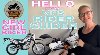 NEW BIKER GIRL LEARNING TO RIDE A MOTORBIKE