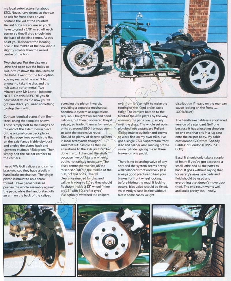 Reliant Disc Brake Conversion - Bikerlifestyle