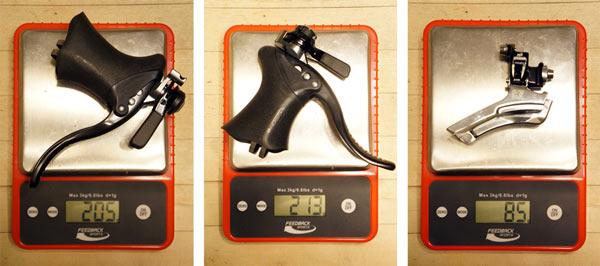 Gevenalle GX drop bar shifter levers for Shimano mountain bike rear derailleurs actual weights