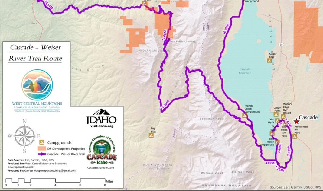 Cycling maps in Cascade Idaho for gravel and MTB biking