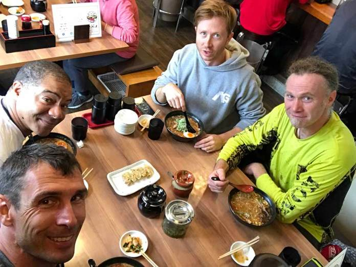 A hot bowl of spicy pork ramen is an amazing finish to a day of riding